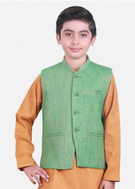 Edenrobe Cotton Plain Texture Boys Waistcoat Suits - Mustard EDW18B 25069