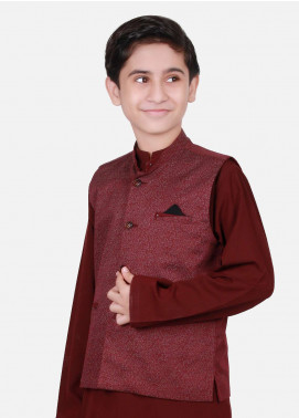 Edenrobe Cotton Plain Texture Boys Waistcoat Suits - Maroon EDW18B 25073