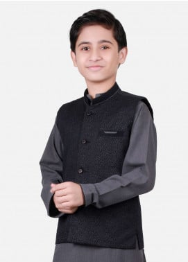 Edenrobe Cotton Plain Texture Boys Waistcoat Suits - Grey EDW18B 25074