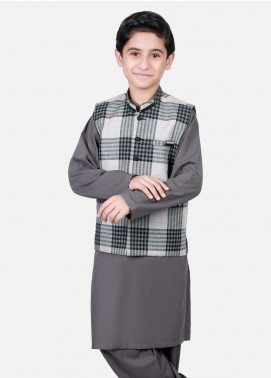 Edenrobe Cotton Check Design Boys Waistcoat Suits - Grey EDW18B 25075