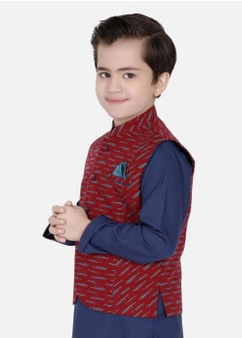 Edenrobe Cotton Fancy Boys Waistcoat Suits - Navy Blue EDW18B 25077