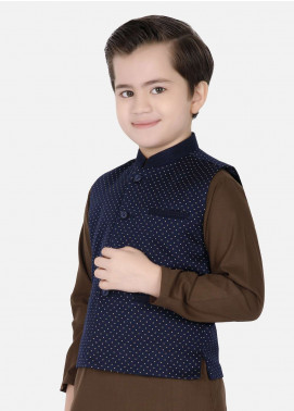 Edenrobe Cotton Fancy Boys Waistcoat Suits - Mehndi EDW18B 25078-2