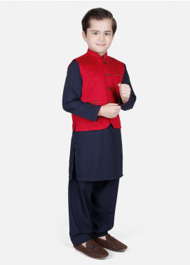 Edenrobe Cotton Fancy Boys Waistcoat Suits - Red EDW18B 25079