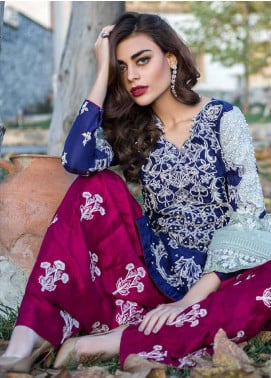 Erum Khan Embroidered  Unstitched 3 Piece Suit EK18E3 09 - Eid Collection