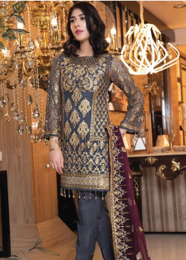 Elaf Embroidered Chiffon Unstitched 3 Piece Suit EL19-C3 301 DARK CHARCOAL - Premium Collection