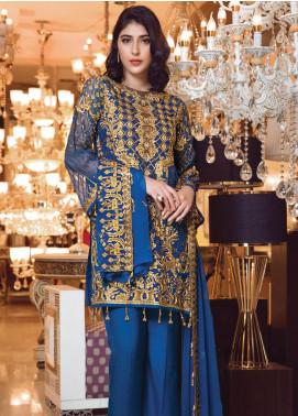 Elaf Embroidered Chiffon Unstitched 3 Piece Suit EL19-C3 304 BERKSHINE BLUE - Premium Collection