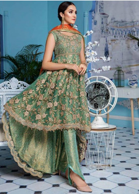 Elaf Embroidered Net Unstitched 3 Piece Suit EL19-C4 401 RUSTIC GREEN - Luxury Collection