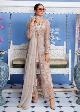 Elaf Embroidered Net Unstitched 3 Piece Suit EL19-C4 402 POWDER BLUSH - Luxury Collection