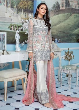 Elaf Embroidered Net Unstitched 3 Piece Suit EL19-C4 404 WHITE DOVE - Luxury Collection