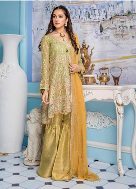 Elaf Embroidered Chiffon Unstitched 3 Piece Suit EL19-C4 405 CADMIUM GREEN - Luxury Collection