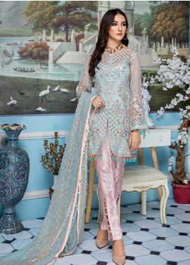 Elaf Embroidered Net Unstitched 3 Piece Suit EL19-C4 407 MELTWATER - Luxury Collection
