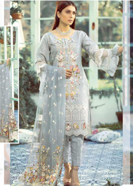 Elaf Embroidered Lawn Unstitched 3 Piece Suit EL20P GREY 04 - Luxury Collection