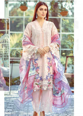 Elaf Embroidered Lawn Unstitched 3 Piece Suit EL20P PINK 01 - Luxury Collection