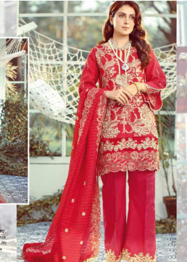 Elaf Embroidered Lawn Unstitched 3 Piece Suit EL20P RED 07 - Luxury Collection