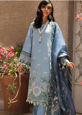 Elan Embroidered Raw SIlk Unstitched 3 Piece Suit EL19F 03 AZUR - Festive Collection