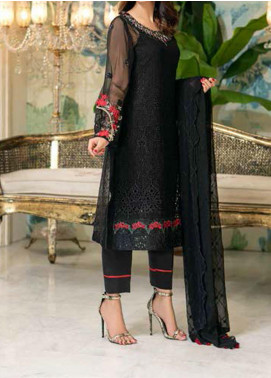 Elegance by Noor Jahan Embroidered Chiffon Unstitched 3 Piece Suit NJ20EC 01 Midnight - Luxury Collection