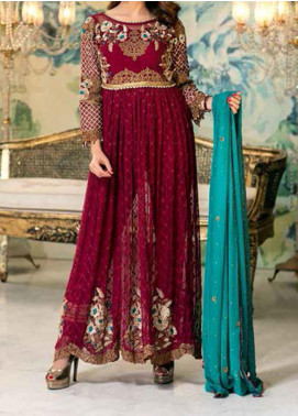 Elegance by Noor Jahan Embroidered Chiffon Unstitched 3 Piece Suit NJ20EC 08 Mehroon - Luxury Collection