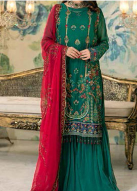 Elegance by Noor Jahan Embroidered Chiffon Unstitched 3 Piece Suit NJ20EC 09 Cerulean - Luxury Collection