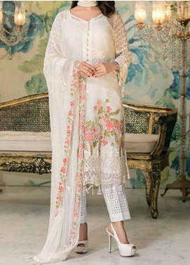 Elegance by Noor Jahan Embroidered Chiffon Unstitched 3 Piece Suit NJ20EC 10 Cream - Luxury Collection