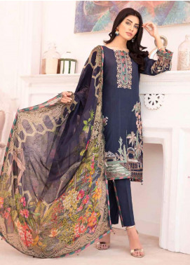 Elysia by Sana Sheraz Embroidered Lawn Unstitched 3 Piece Suit SS20E 02 Blue Bell - Luxury Collection