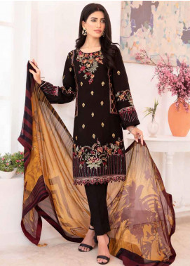 Elysia by Sana Sheraz Embroidered Lawn Unstitched 3 Piece Suit SS20E 05 Black Rose - Luxury Collection