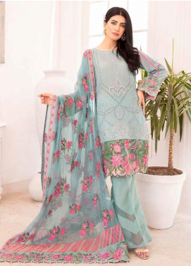 Elysia by Sana Sheraz Embroidered Lawn Unstitched 3 Piece Suit SS20E 07 Peri Winkle - Luxury Collection
