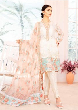 Elysia by Sana Sheraz Embroidered Lawn Unstitched 3 Piece Suit SS20E 09 Water Lily - Luxury Collection