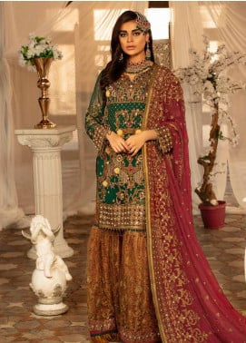 Emaan Adeel Embroidered Chiffon Unstitched 3 Piece Suit EA19BC 202 - Bridal Collection