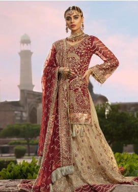 Emaan Adeel Embroidered Chiffon Unstitched 3 Piece Suit EA19BC 205 - Bridal Collection