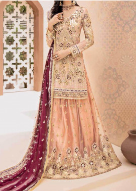 Emaan Adeel Embroidered Chiffon Unstitched 3 Piece Suit EA20-B3 301 Candlelight Shades - Bridal Collection