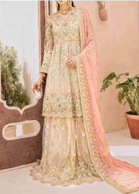 Emaan Adeel Embroidered Chiffon Unstitched 3 Piece Suit EA20-B3 303 Salmon Blush - Bridal Collection