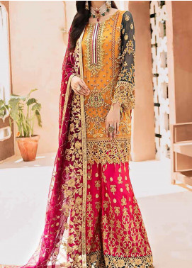 Emaan Adeel Embroidered Chiffon Unstitched 3 Piece Suit EA20-B3 304 Carnation Rose - Bridal Collection