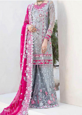 Emaan Adeel Embroidered Chiffon Unstitched 3 Piece Suit EA20-B3 305 Nightlight Shine - Bridal Collection