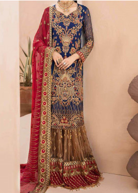 Emaan Adeel Embroidered Chiffon Unstitched 3 Piece Suit EA20-B3 306 Granola Carmina - Bridal Collection