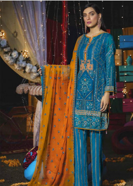 Emaan Adeel Embroidered Chiffon Unstitched 3 Piece Suit EA19-C6 604 - Luxury Collection