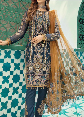 Emaan Adeel Embroidered Chiffon Unstitched 3 Piece Suit EA20-C13 1303 - Luxury Collection