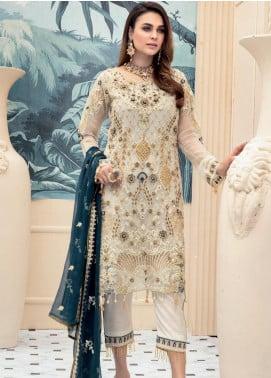 Emaan Adeel Embroidered Chiffon Unstitched 3 Piece Suit EA20LC 1101 - Luxury Collection