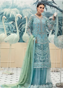 Emaan Adeel Embroidered Chiffon Unstitched 3 Piece Suit EA20LC 1103 - Luxury Collection