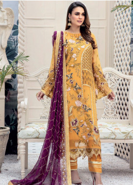 Emaan Adeel Embroidered Chiffon Unstitched 3 Piece Suit EA20LC 1104 - Luxury Collection