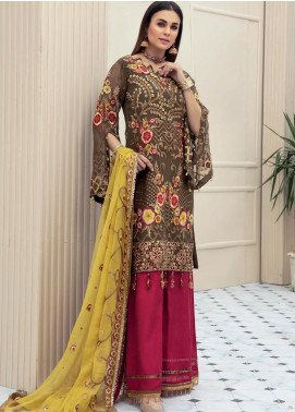 Emaan Adeel Embroidered Chiffon Unstitched 3 Piece Suit EA20LC 1108 - Luxury Collection