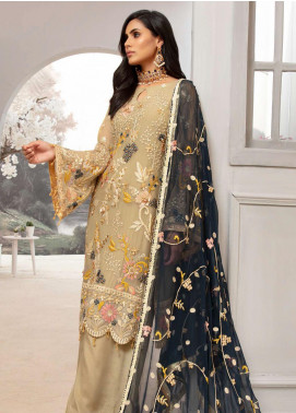 Emaan Adeel Embroidered Chiffon Unstitched 3 Piece Suit EA20LC-12 EA-1203 - Luxury Collection