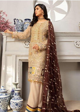 Emaan Adeel Embroidered Chiffon Unstitched 3 Piece Suit EA20LC-12 EA-1205 - Luxury Collection