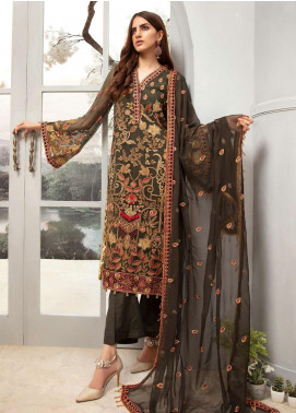 Emaan Adeel Embroidered Chiffon Unstitched 3 Piece Suit EA20LC-12 EA-1208 - Luxury Collection