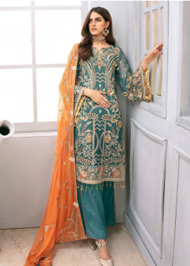 Emaan Adeel Embroidered Chiffon Unstitched 3 Piece Suit EA20LC-12 EA-1210 - Luxury Collection