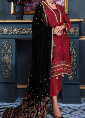 Makhmal by Emaan Adeel Embroidered Charmeuse Silk Unstitched 3 Piece Suit EA20M 01 - Luxury Collection