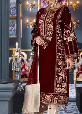 Makhmal by Emaan Adeel Embroidered Velvet Unstitched 3 Piece Suit EA20M 05 - Luxury Collection