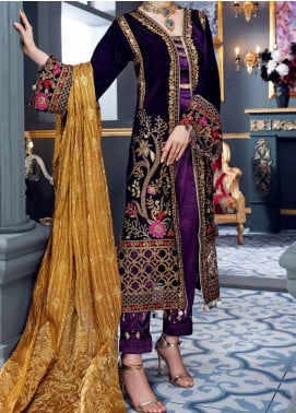 Makhmal by Emaan Adeel Embroidered Velvet Unstitched 3 Piece Suit EA20M 06 - Luxury Collection