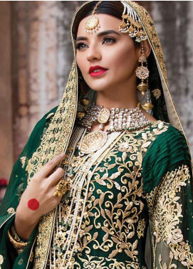 EmbRoyal Embroidered Chiffon Unstitched  EMB18C 10 Royal Emerald - Festive Collection