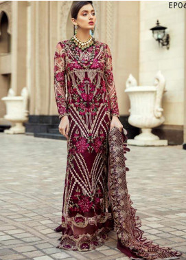 Epoque Embroidered Net Unstitched 3 Piece Suit EP20A 06 Scarlet Eve - Luxury Collection