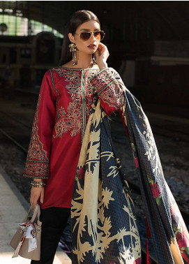 Erum Khan Embroidered Chiffon Unstitched 3 Piece Suit EK19C BARN RED - Luxury Collection